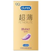 杜蕾斯 天然胶乳橡胶避孕套 超薄润lube+ 12只装